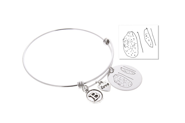 Handwriting Bangle Bracelet (With Initial & Love Charm)