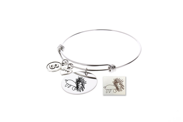 Drawing Bangle Bracelet (With Initial & Love Charm)