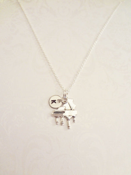 Piano Necklace with Initial - Anomaly Creations & Designs  - 2