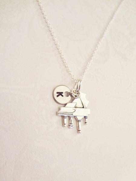 Piano Necklace with Initial - Anomaly Creations & Designs  - 3