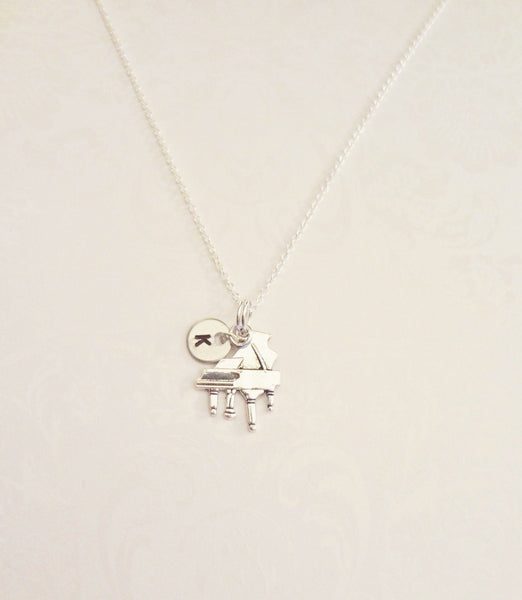 Piano Necklace with Initial - Anomaly Creations & Designs  - 4