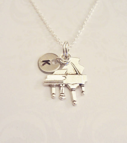 Piano Necklace with Initial - Anomaly Creations & Designs  - 5
