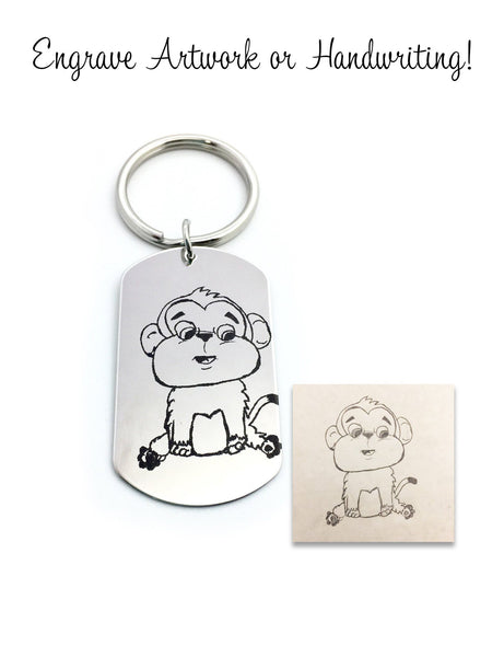 Personalized Handwriting or Drawing Keychain