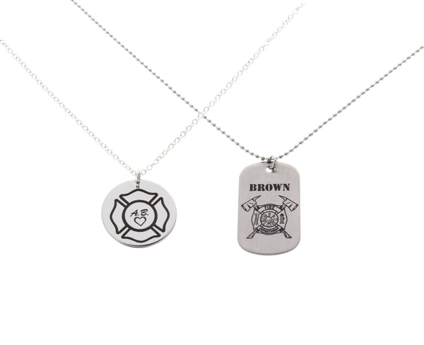 his and hers firefighter necklaces
