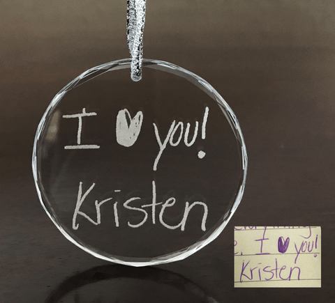 Glass Christmas Ornament - Custom Handwriting Engraved