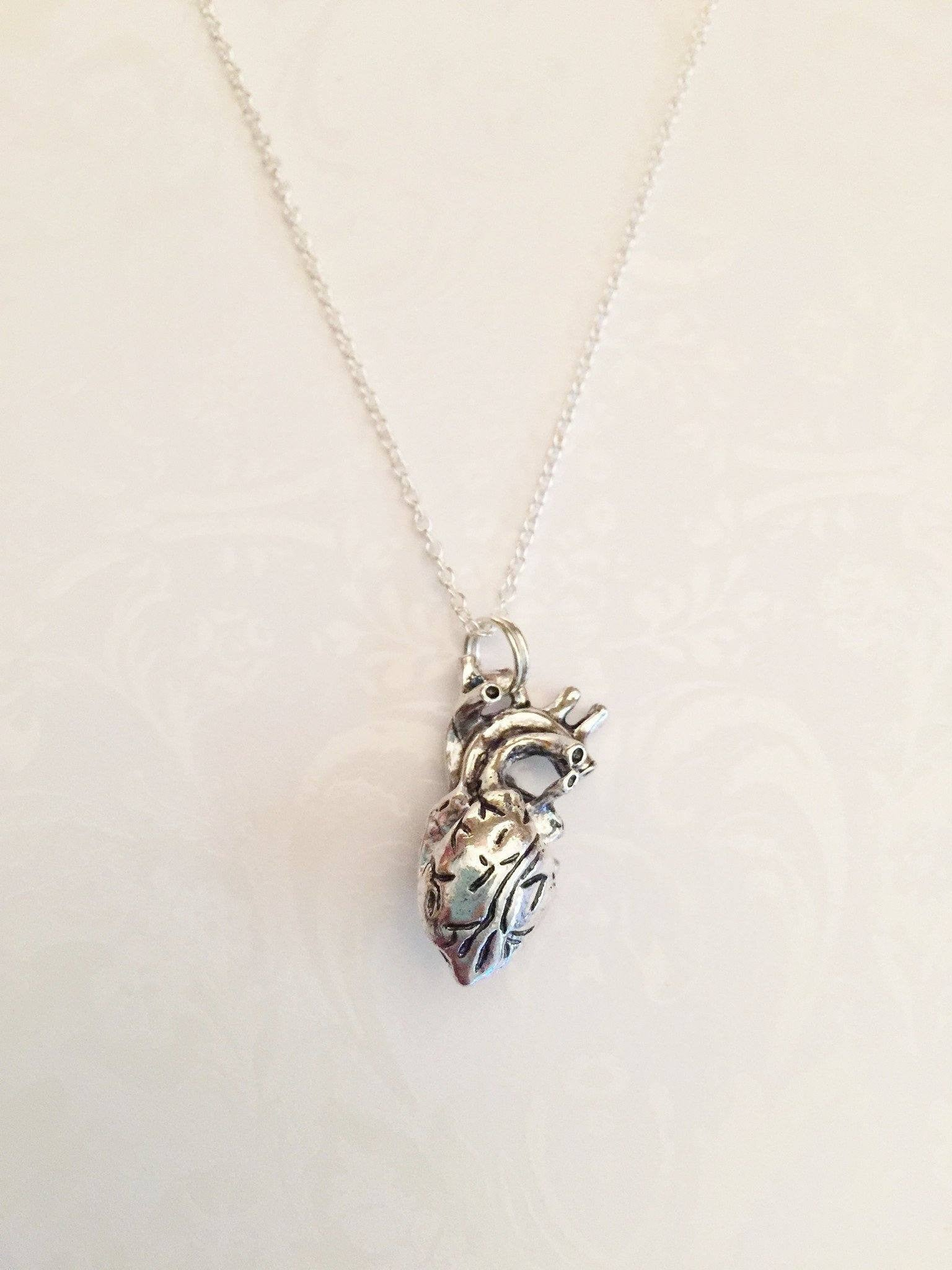 Human Anatomical Heart Necklace - Anomaly Creations & Designs  - 1