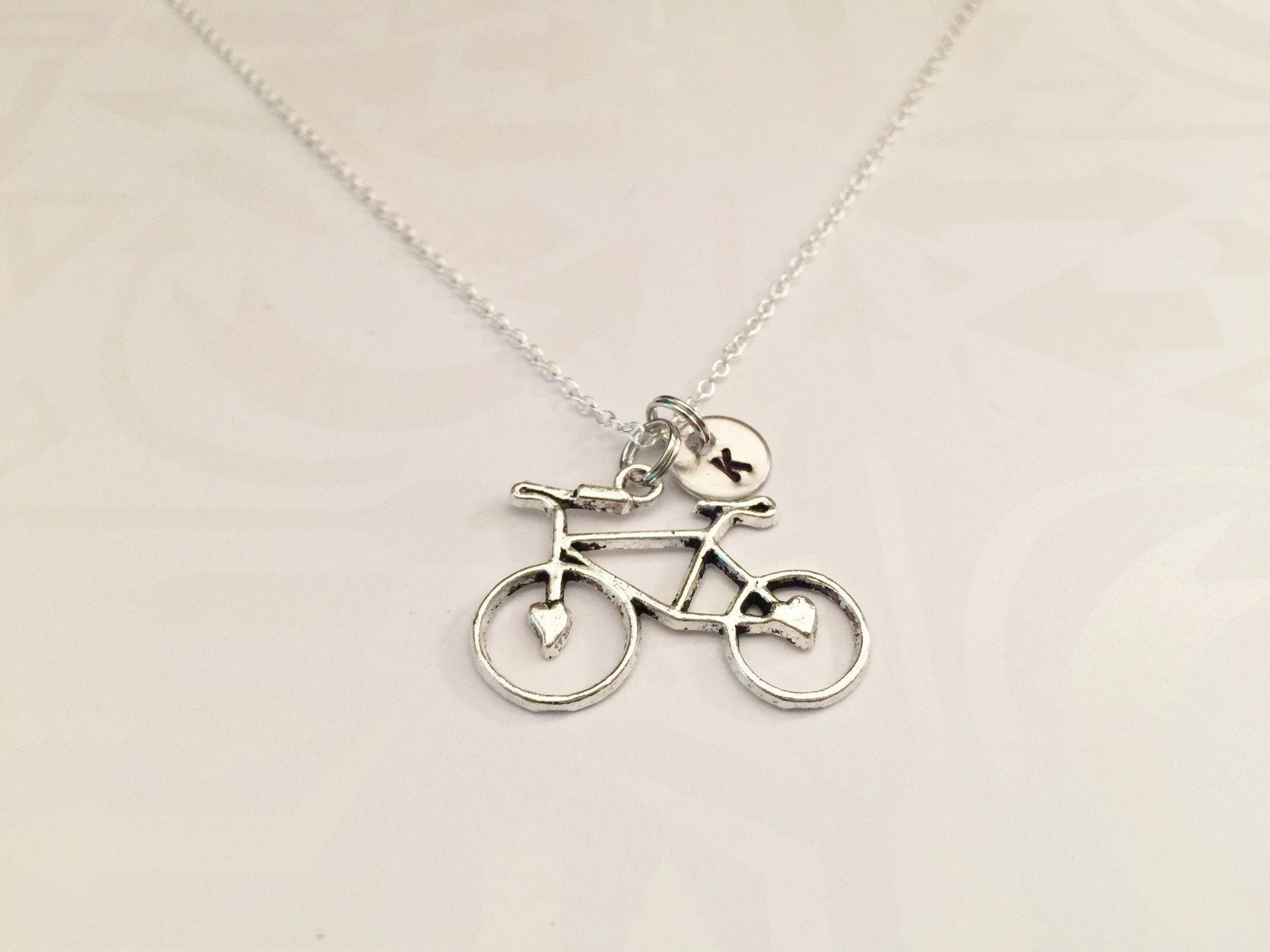 Bicycle Necklace with Initial - Anomaly Creations & Designs