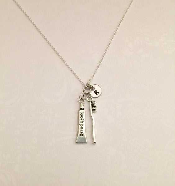 Toothpaste & Toothbrush Necklace with Initial - Anomaly Creations & Designs
