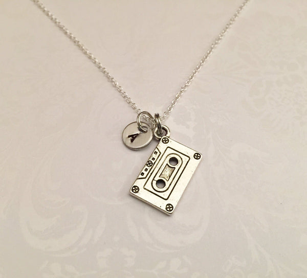 Cassette Tape Necklace with Initial - Anomaly Creations & Designs