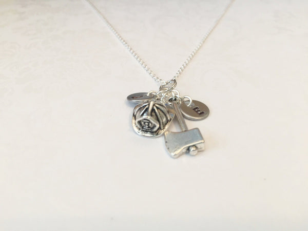 Firefighter Necklace with Two Initials - Anomaly Creations & Designs  - 4