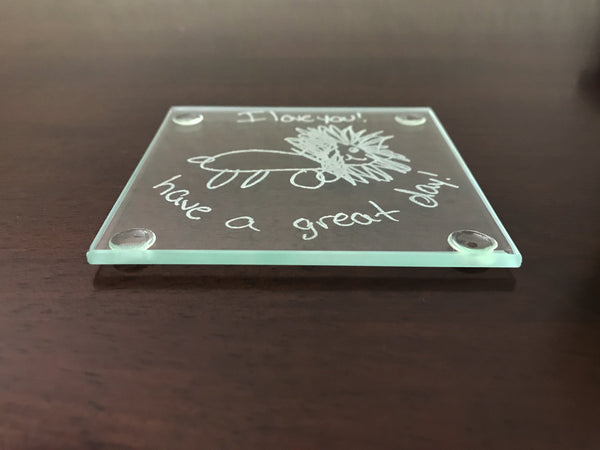 Actual handwriting coaster