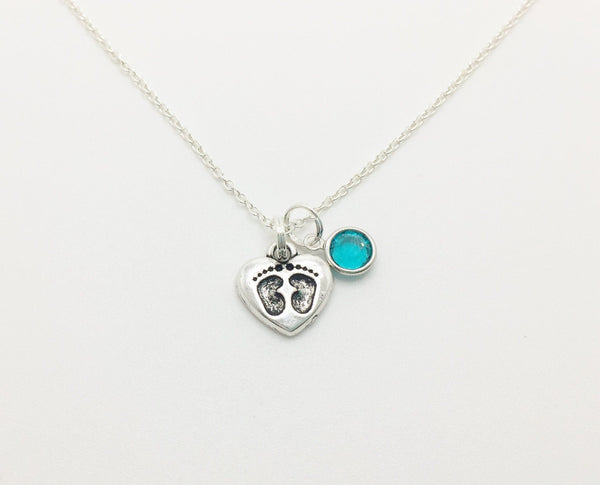 Baby Foot Prints Necklace Personalized with Swarovski Birthstone - Anomaly Creations & Designs