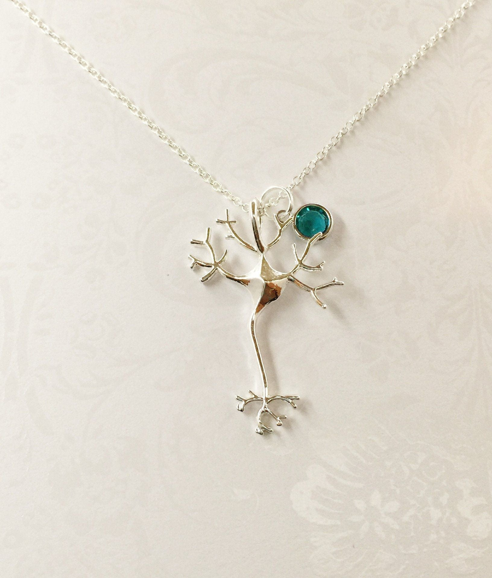 Neuron Necklace with Swarovski Birthstone - Anomaly Creations & Designs