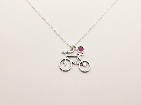 Bicycle Necklace with Swarovski Birthstone - Anomaly Creations & Designs