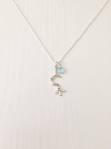 Acetylcholine (ACh) Molecular Necklace with swarovski birthstone