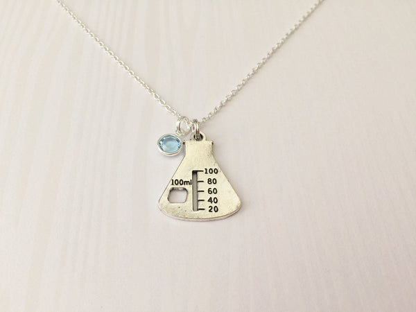 Erlenmeyer Flask Beaker Necklace with Swarovski Birthstone - Anomaly Creations & Designs  - 3