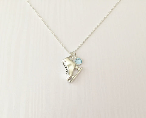 Ice Skating Necklace with Swarovski Birthstone - Anomaly Creations & Designs  - 1