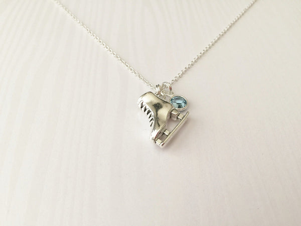 Ice Skating Necklace with Swarovski Birthstone - Anomaly Creations & Designs  - 2