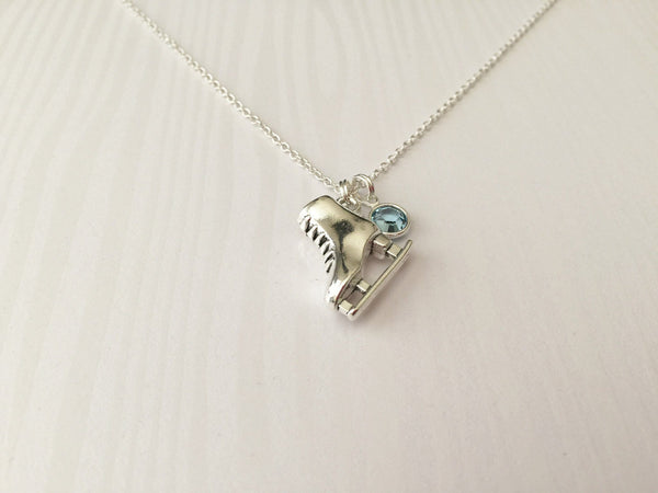 Ice Skating Necklace with Swarovski Birthstone - Anomaly Creations & Designs  - 3
