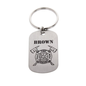 Firefighter Dog Tag Keychain