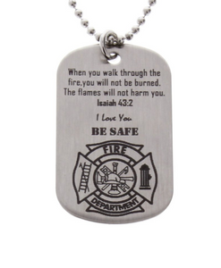 Black Personalized Stainless Steel with chain Gift. Dog Tag Fueled in Fire logo Firefighter