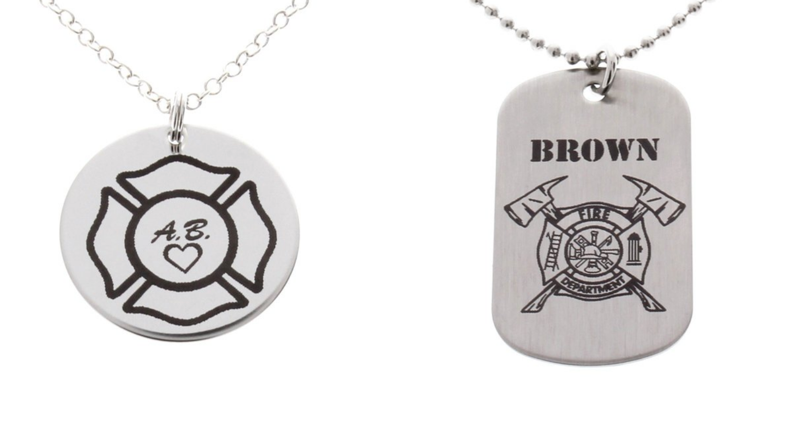 Firefighter Maltese Cross His & Hers Necklaces