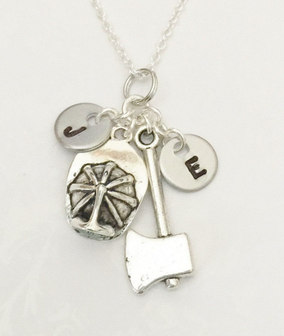 Firefighter Necklace with Two Initials