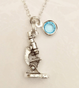 Microscope Necklace with Swarovski Birthstone