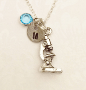 Microscope Necklace with Swarovski Birthstone & Initial