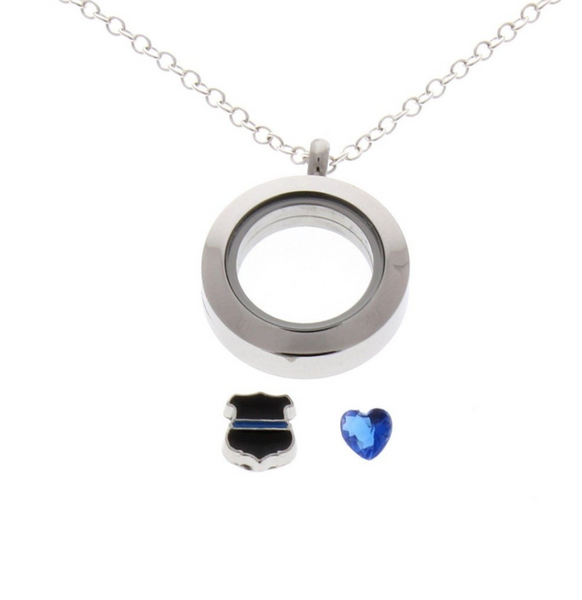 Thin Blue Line - Floating Locket Necklace