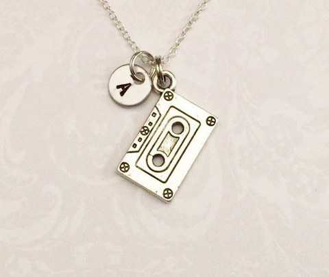Cassette Tape Necklace with Initial