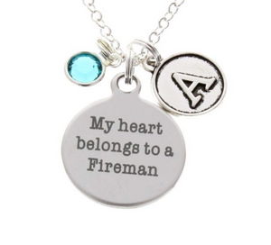 My Heart belongs to a Fireman Necklace (with Birthstone & Initial)