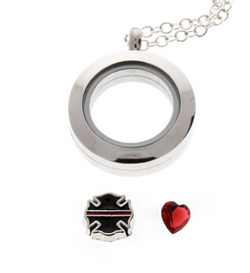 "Firefighter ""Thin Red Line"" Floating Locket"