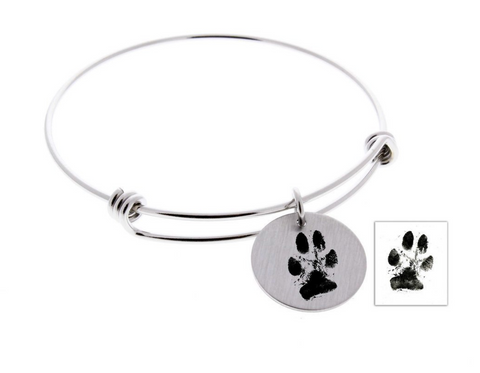 Paw Print Bangle Bracelet (Customize!)