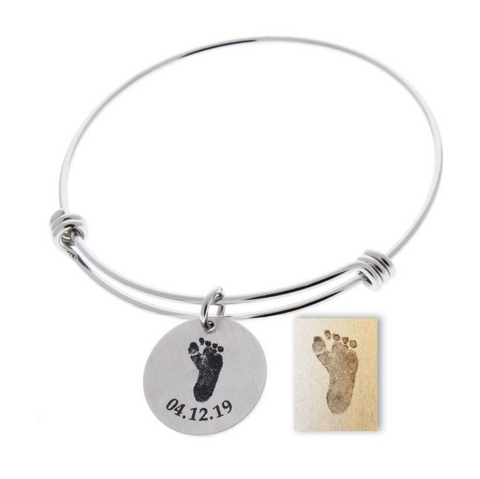 Footprint Bangle Bracelet (Customize!)