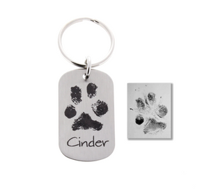 Paw Print Keychain (Your dog or cats real paw print)