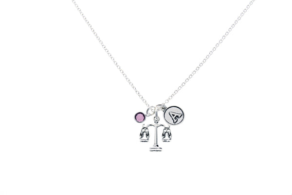 Scales of Justice Necklace with Swarovski Birthstone & Initial