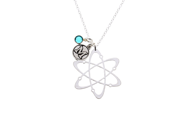Atom Molecule Necklace - with Swarovski Birthstone & Initial