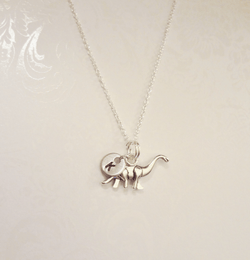 Brontosauraus Necklace with Initial - Anomaly Creations & Designs