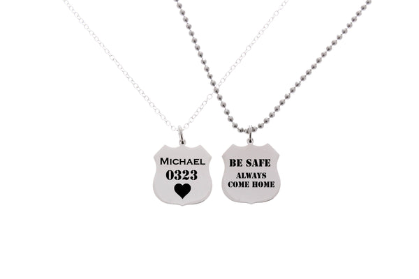 His and Hers Police Badge Necklaces