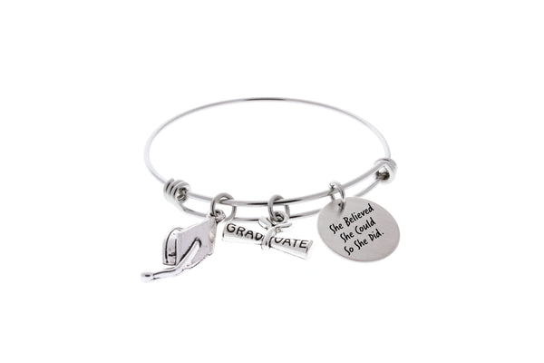 Graduation Bangle Bracelet- She believed she could so she did