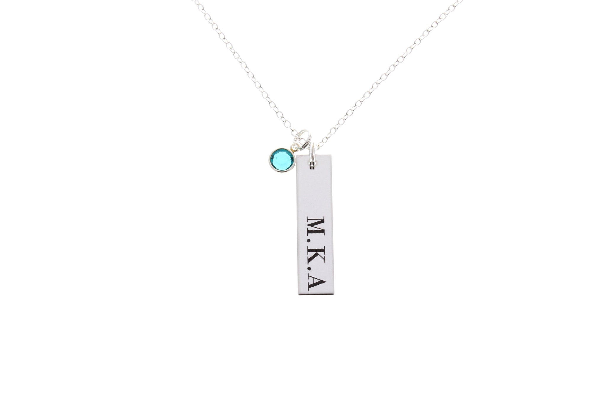 Personalized Bar Necklace with Swarovski Birthstone