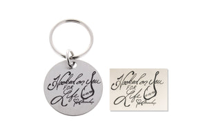 handwritten gifts, handwriting engraved keychain