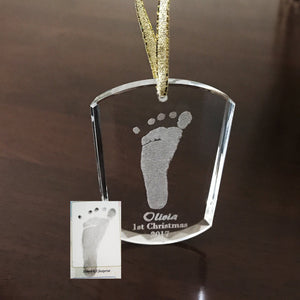Baby Footprint Glass Ornament