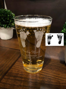 Actual Baby Footprints Glass