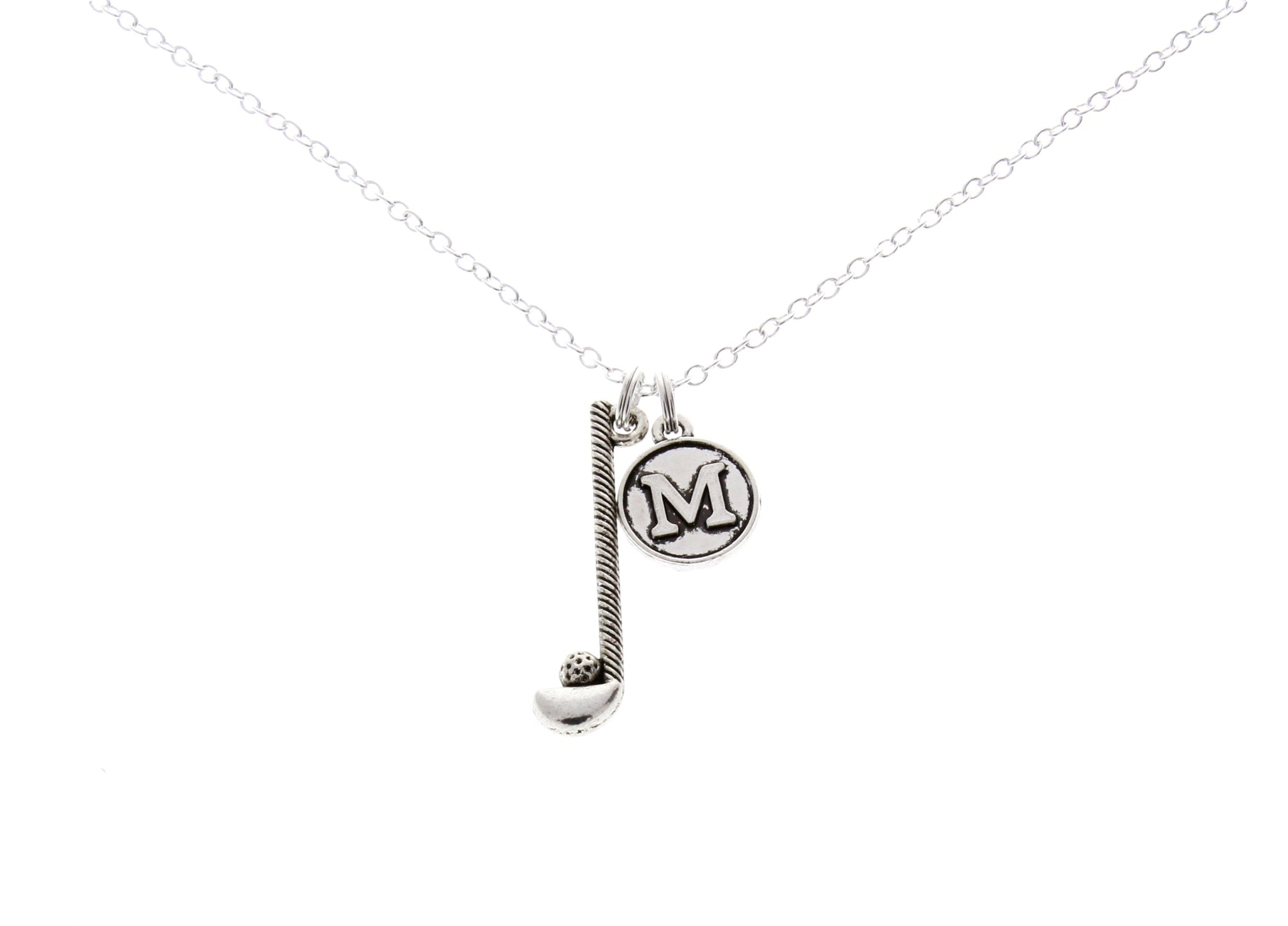 Golf Club Necklace with Initial Charm