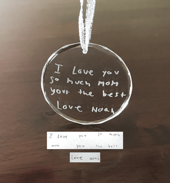Glass Ornament - Custom Handwriting Engraved