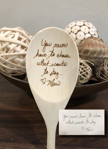 Real Handwriting Wood Spoon