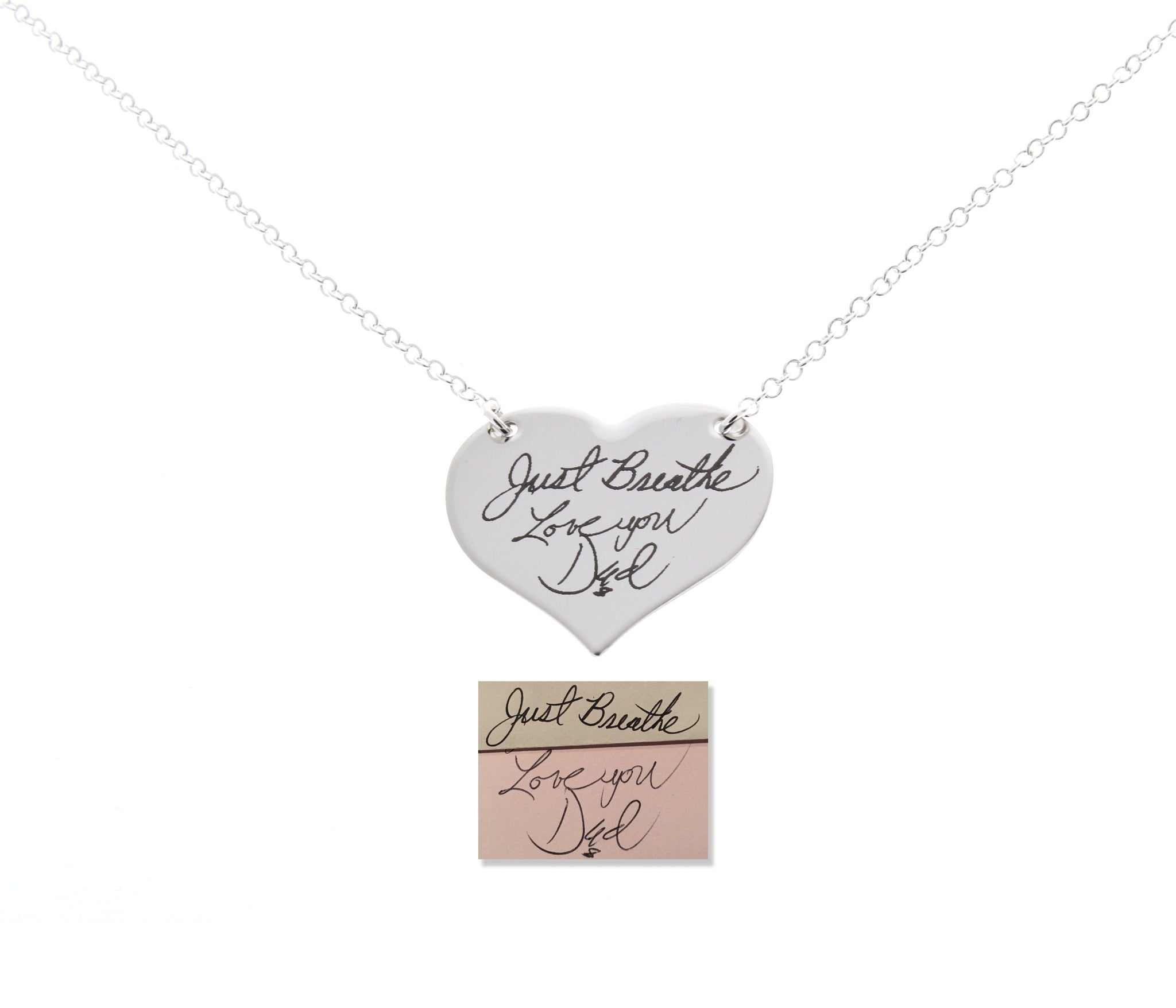 Handwriting engraved, engraved signatures, memorial keepsakes, actual handwritten necklace, memorial gifts, anniversary gifts, drawings engraved