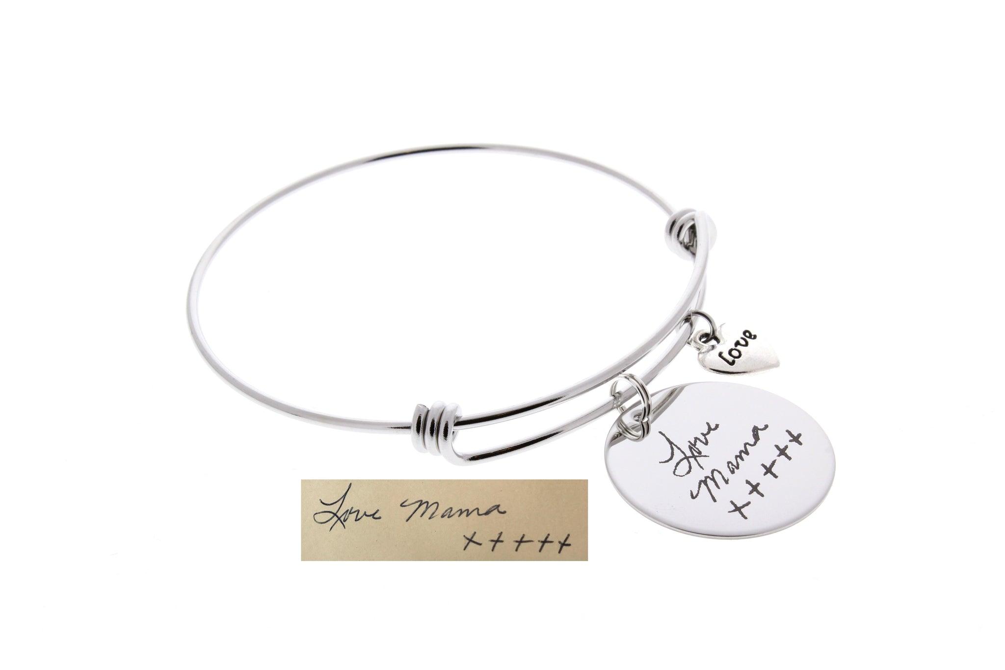 "Handwriting Bangle Bracelet (With ""Love"" Charm)"